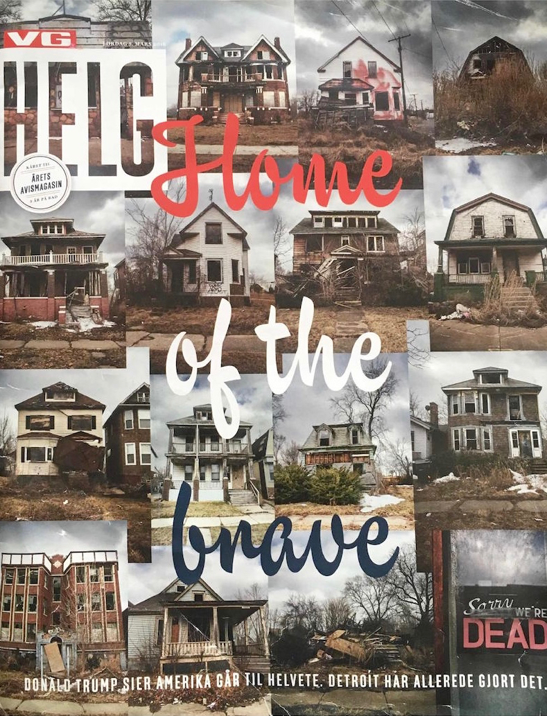 VG Helg, 5. mars 2016. 13 pages story from the Hard.Land project, about the fall of Detroit and the middle class – and the rise of Donald Trump.