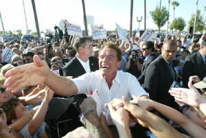 Covering the recall and race for guvernor in 2003 with Arnold Schwartzenegger. Foto: Thomas Nilsson